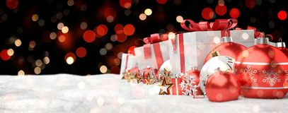 Red and white christmas gifts and baubles lined up 3D rendering. Red and white christmas gifts and baubles lined up on black bokeh background 3D rendering Stock Images