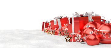 Red and white christmas gifts and baubles lined up 3D rendering. Red and white christmas gifts and baubles lined up on white background 3D rendering Stock Images