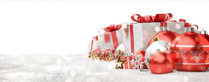 Red and white christmas gifts and baubles lined up 3D rendering. Red and white christmas gifts and baubles lined up on white background 3D rendering Royalty Free Stock Photo
