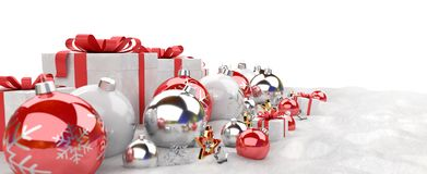 Red and white christmas gifts and baubles lined up 3D rendering. Red and white christmas gifts and baubles lined up on white background 3D rendering Stock Photography