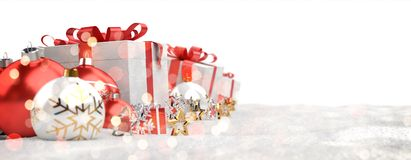 Red and white christmas gifts and baubles lined up 3D rendering. Red and white christmas gifts and baubles lined up on white background 3D rendering Stock Image