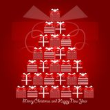 Red and white christmas gifts forming christmas tree with merry christmas and happy new year greetings. Vector Illustration. Red and white christmas gifts Stock Photography