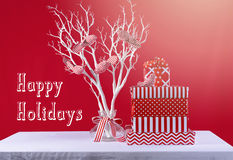 Red and White Christmas Gifts Stock Image