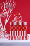Red and White Christmas Gifts Stock Images