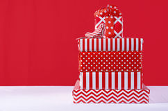 Red and White Christmas Gifts Stock Photo