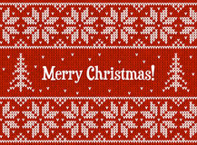 Red and white Christmas knit greeting card Royalty Free Stock Images