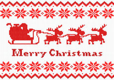 Red and white Christmas knit greeting card Stock Photography