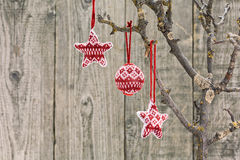 Red and white Christmas ornaments Stock Photography