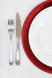 Red and white Christmas place setting Stock Images