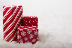 Red and White Christmas presents stock image