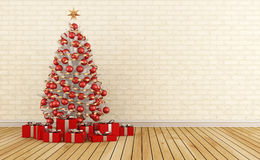 Red and white christmas room. Red and white christmas tree with present in a empty room-3D Rendering Stock Photography