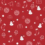 Red and white Christmas seamless pattern. stock illustration