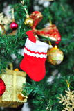 Red and white christmas sock Royalty Free Stock Photography