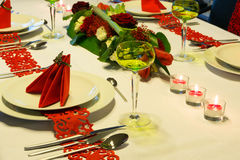 Red and white Christmas table Royalty Free Stock Photo
