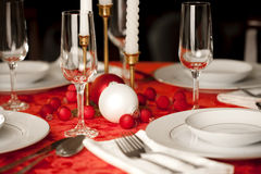 Red and white Christmas table setting Royalty Free Stock Image