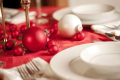 Red and white Christmas table setting Stock Photo