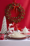 Red and White Christmas Table Setting. Stock Images