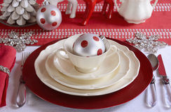 Red and White Christmas Table Setting. Royalty Free Stock Images