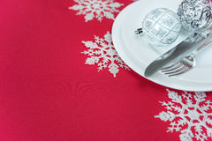 Red and white Christmas table Royalty Free Stock Photography