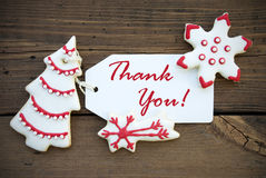 Red and White Christmas Thank You Label Royalty Free Stock Image