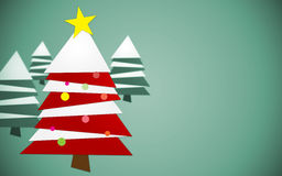 Red and White Christmas Tree. Tree made by triangles not aligned.Three more trees blurred behind.Nice vignette appears Royalty Free Stock Photography