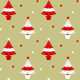 Red and white christmas tree seamless pattern holidays background illustration Stock Images