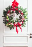 Red and white Christmas wreath stock photos