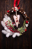 Red and white Christmas wreath Royalty Free Stock Photography