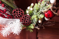 Red and white Christmas wreath Royalty Free Stock Image