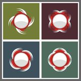 Red white circle emblem vector Royalty Free Stock Image
