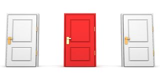 Red and white closed doors as choice concept Stock Images