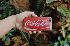 Red and White Coca-cola Smartphone Case Royalty Free Stock Images