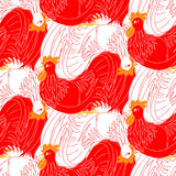 Red and white cocks Stock Images