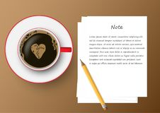 Red and white coffee cup with paper notes, vector illustration Royalty Free Stock Image