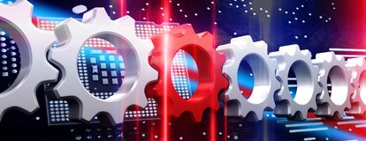 Composite image of red and white cogs and wheels. Red and white cogs and wheels against type: backdrop Royalty Free Stock Images