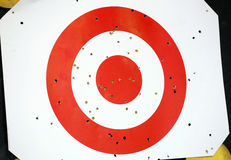 Red and white colored archery target Royalty Free Stock Photos