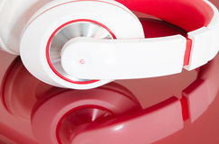 Red and white colorful headphones Royalty Free Stock Image