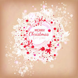 Red and white colors Christmas wreath ilustration Stock Images