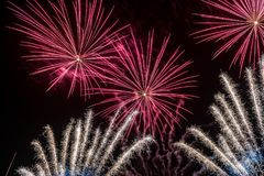 Red and White Colors Fireworks Lights Stock Image