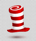 Red and white colors stripes realistic vector carnival hat Stock Photos
