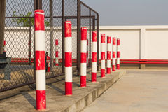 Red, white columns stock images