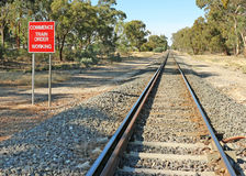 Red and white Commence Train Order Working sign and railway track Royalty Free Stock Images