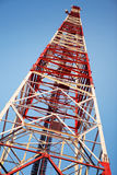 Red and white communication tower Royalty Free Stock Image