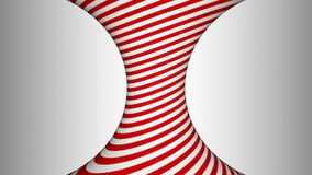 Red and white concave rotating cylinder with hypnotic effects stock video