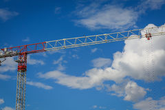Red and white construction crane Stock Photography