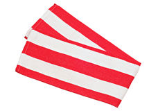 Red and white cotton napkin, on white background Stock Photography