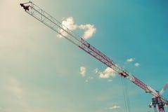 Red and white crane. Stock Photo