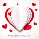 Red and white cutout paper vector heart Stock Images