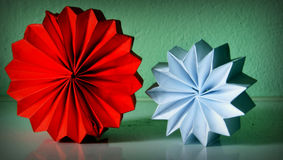 Red and white. Decorative folded  paper forms in red and white color for Christmas holydays Stock Photography