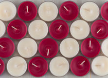Red and White Diagonal of Candles Royalty Free Stock Photos